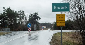 a picture of Polish 'LGBT free zone' Krasnik road sign at intersection