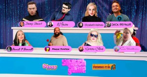 A collage featuring eight people taking part in a quiz show
