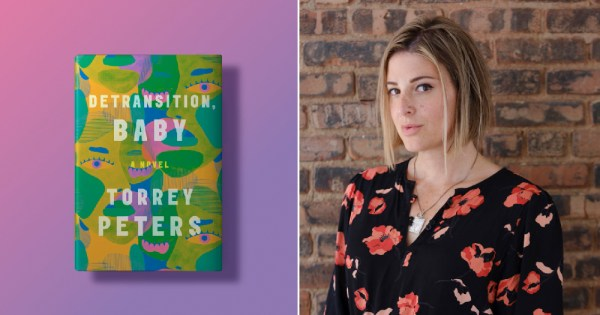 A split screen image of a book cover and a young woman standing against a wall