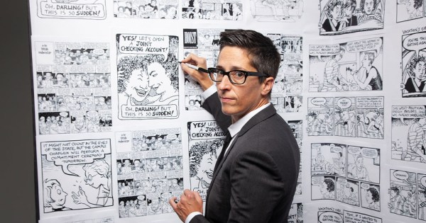 A woman with short hair in a suit draws comic strips on a wall. Promotional image ahead of GAZE Film Festival return to cinemas.