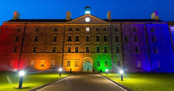 Mother tickets release: Image of Collins Barracks lit up with rainbow lights