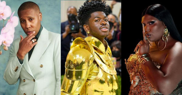 Split screen: Lena Waithe (left), Lil Nas X (centre) and Lizzo (right)