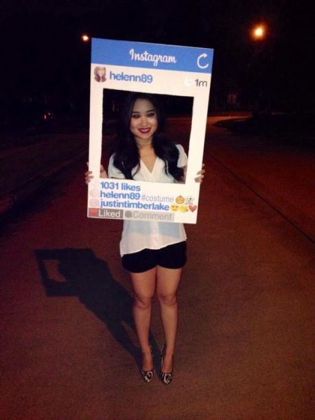 A woman dressed as her own Instagram account