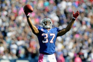 Bills' Wilson celebrates an interception against the Eagles in the first quarter of their NFL football game in Orchard Park