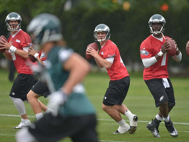 Jason Peters and Kenny Phillips Miss Rain Soaked Eagles Practice
