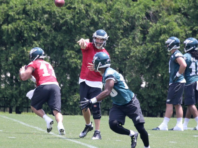 Sam Bradford Participates in 7-on-7 Drills At Eagles Practice