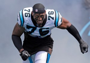 FILE - In this Sept. 8, 2013, file photo, Carolina Panthers defensive end Greg Hardy (76) is introduced before an NFL football game between the Panthers and the Seattle Seahawks in Charlotte, N.C. The Dallas Cowboys met with free agent defensive end Greg Hardy on Tuesday, March 17, 2015, as they explore ways to improve a shaky pass rush from last season.  (AP Photo/Chuck Burton, File) ORG XMIT: NY173