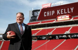 Chip Kelly, the new head coach for the San Francisco 49ers, poses at Levi's Stadium in Santa Clara, Calif., after being introduced during a Wednesday morning press conference, Jan. 20, 2016. (Karl Mondon/Bay Area News Group)