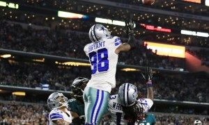 Nov 8, 2015; Arlington, TX, USA; Dallas Cowboys wide receiver Dez Bryant (88) goes up for the touchdown catch during the second half of a game against the Philadelphia Eagles at AT&T Stadium. Mandatory Credit: Ray Carlin-USA TODAY Sports