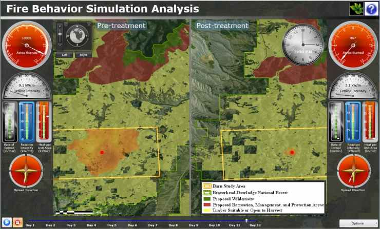 Wildfire Simulation dashboard in Montana using ArcGIS