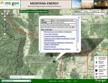 Montana map of energy sites