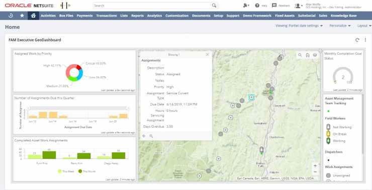 NetSuite FAM Executive GeoDashboards.