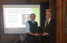 2017 Excellence in Turfgrass Management (Public) Award Recipient Denis Kerr (Golf Club at Quail Lodge) with outgoing GCSANC President Sean Tully (Meadow Club), at our GCSANC Annual Meeting and Awards Ceremony on January 16, 2018 at Meadow Club
