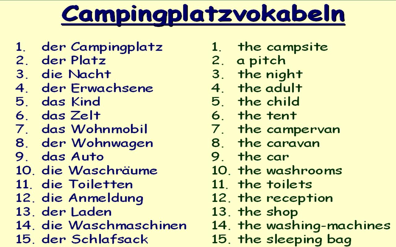 Am Campingplatz Vokabeln