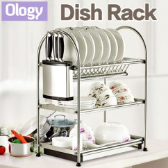 Kitchen Drying Rack White Porcelain Undermount Sink Qoo10 Dish Dining Stainless Steel Storage Shelf Drainer Tray Roll Drain Cutlery Holder