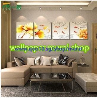 painting for living room feng shui navy and grey qoo10 frameless the triptych nine fish painti furniture deco