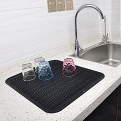 Kitchen Dish Drying Mat Vinyl For Cabinets Qoo10 Silicone 100 Eco Friendly Drainer Wine Glassbaby