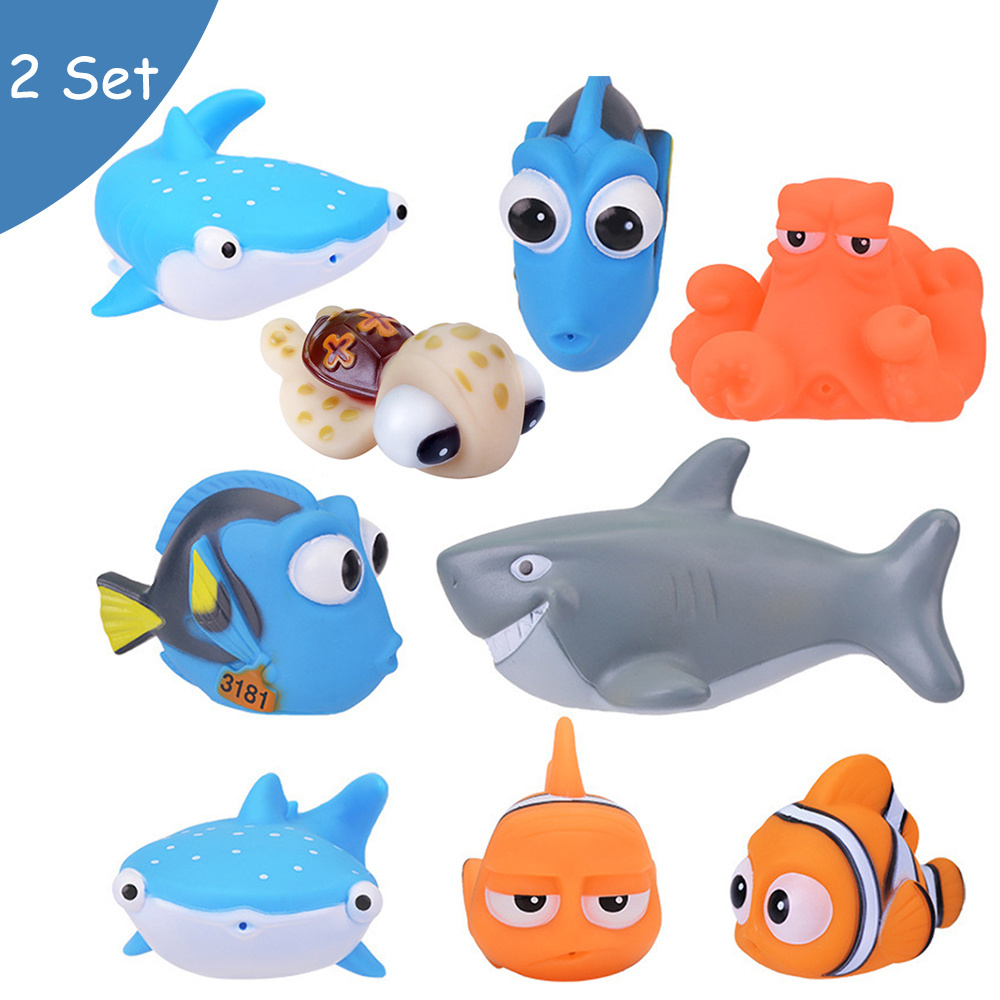 Nemo Bathroom Set Baby Bath Toys Finding Nemo Dory Float Spray Water Squeeze Toys Soft Rubber Swimming Play Bath