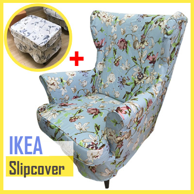 ikea replacement chair covers antique high rocker value qoo10 strandmon furniture deco sofa slipcovers cotton cover protector with ottoman