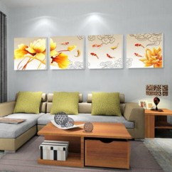 Painting For Living Room Feng Shui What Size Rug Couch Buy Finished Product Nine Fish Triptych Frameless Dining Mural Sofa Background Decoration Fengshui Sell99