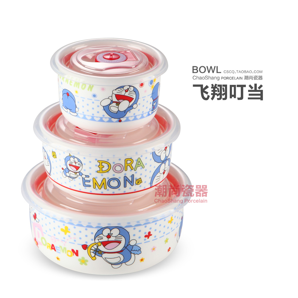 Storage box ceramic round lunch box sealed fresh bowl of three sets with lid for instant noodles microwave oven lunch box (flying cat. - intl