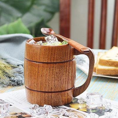 日式復古實木大肚杯木杯子帶蓋勺木質酒桶杯原木大容量木制啤酒杯-淘寶網