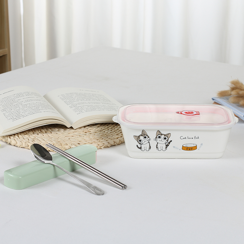 Japanese-style lunch boxes separated by three points rectangular pottery lunch box with lid sealed rice bowl to work microwave oven (cute cat lunch box + chopsticks spoon) - intl