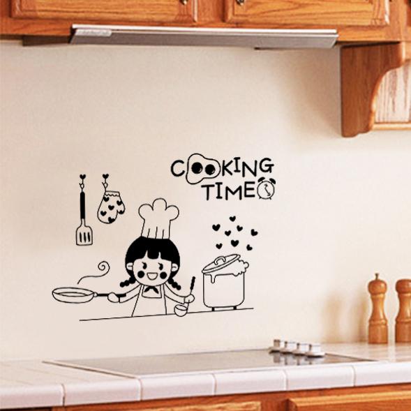 decorating ideas kitchens kitchen remodeling baltimore 厨房餐厅餐桌背景墙贴纸橱柜装饰创意个性墙贴厨师小厨娘贴纸 淘宝网 装饰创意厨房