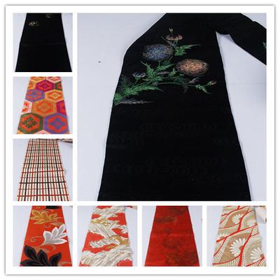 vintage古著復古日本正絹和服腰封桌旗壁掛六金銀線腰帶S99-淘寶網
