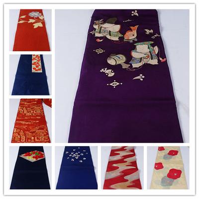 vintage古著復古日本正絹和服腰封桌旗壁掛六金銀線腰帶S100-淘寶網