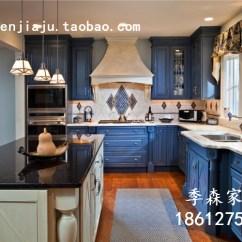 Blue Kitchen Island Mission Cabinets 地中海橱柜实木整体厨柜中岛型l型厨房蓝色田园家具定做北京 淘宝网 蓝色厨房岛