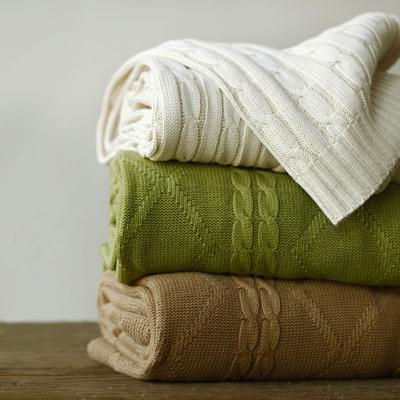 秋冬全棉美式保暖針織蓋毯加厚純棉沙發毯子毛毯北歐航空毯午睡毯-淘寶網