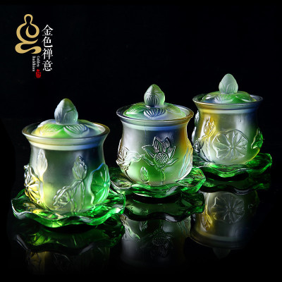 七彩蓮花供水杯供佛杯家用供佛水杯凈水杯水晶觀音圣水杯佛前供杯-淘寶網