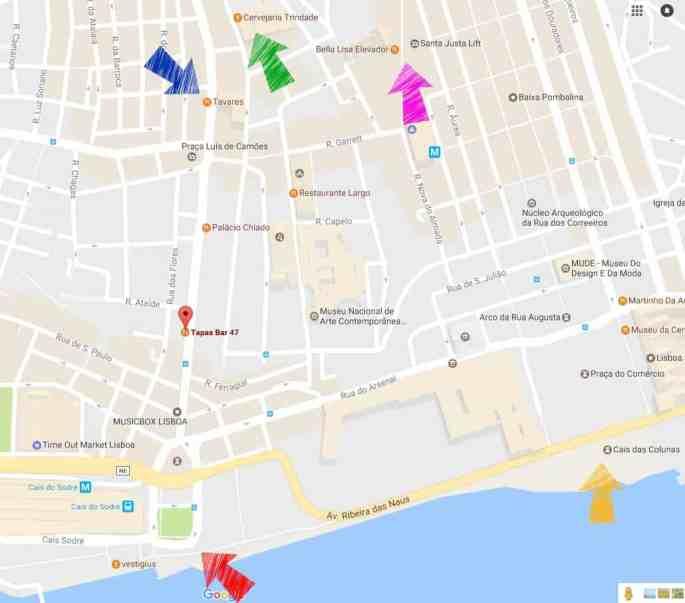 Mapa com o Tapas Bar 47