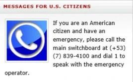 Número telefónico de emergencia de la Embajada de EEUU en La Habana.