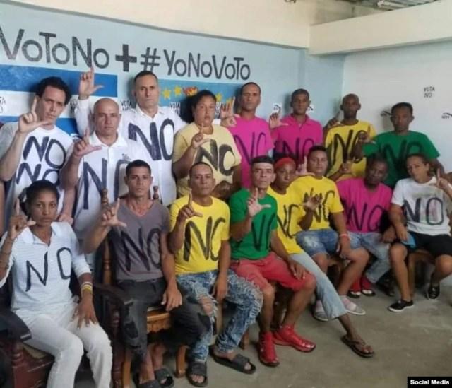 Activistas de UNPACU en huelga de hambre en protesta contra el referendo constitucional del 24 de febrero en Cuba.