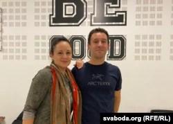 Valyantsina Chuduk, a professional dancer and psychologist, with Kiryl Valoshin in a dance studio in Vilnius.