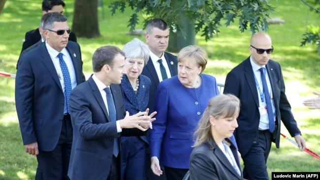 Predsjednik Francuske Fransoa Makron, premijerka Velike Britanije Tereza Mej i njemačka kancelarka Angela Merkel u Sofiji 17. maja
