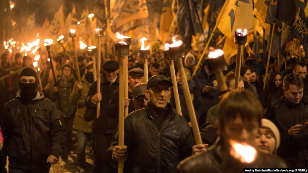 Ukrainian nationalists march in Kyiv on October 14.