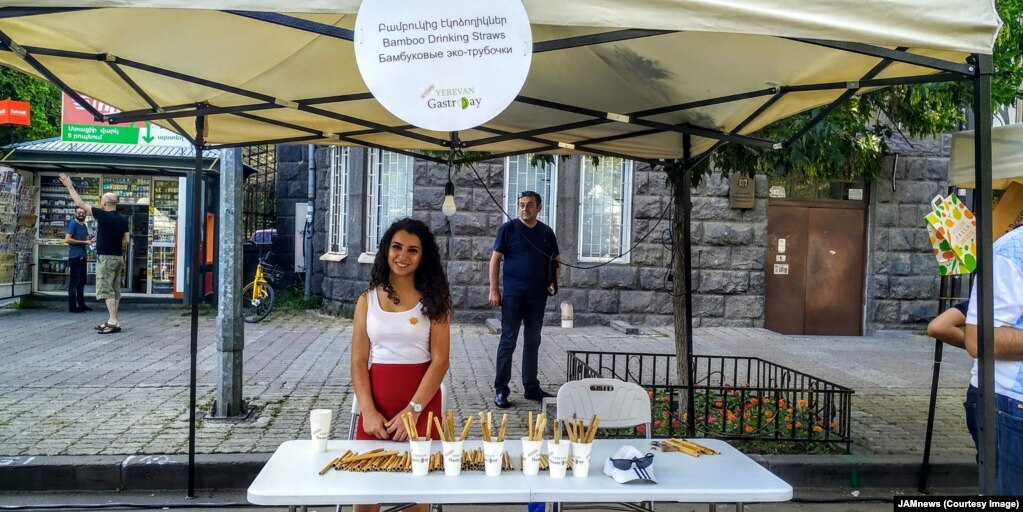 And many Armenians agree. This stall in Armenia's capital, Yerevan, is advertising Gasparian's green alternative to straws. At just 11 U.S. cents each, he has already fielded inquiries from Yerevan's thriving café industry.