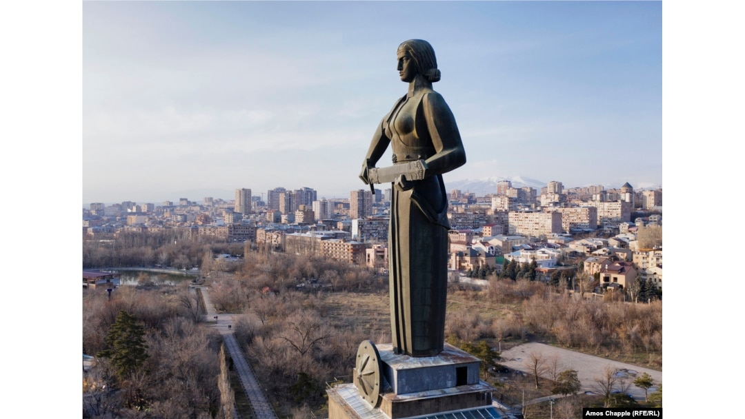 """The Mother Armenia monument photographed in March 2021. Haratyunyan said he wanted Mother Armenia to represent """"strength, heroism and victory."""" The sword of war is not raised in threat, but held at the ready in case it is needed."""