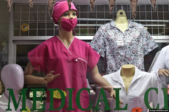 A mannequin displays a face mask at a medical supplies shop in Mexico City on February 28.