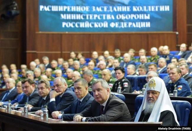 Московський патріарх Кирило на засіданні колегії Міністерства оборони Росії. Москва, 11 грудня 2015 року
