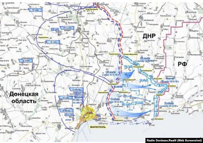 А таку карту наступу ЗСУ, що нібито мав початися невдовзі, угруповання «ДНР» публікувало ще у 2018 році