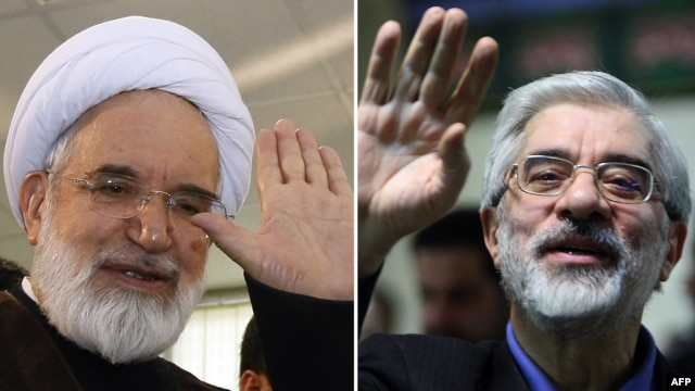 A combination photo shows National Confidence reformist party Mehdi Karrubi (left) and former Iranian Prime Minister Mir Hossein Musavi.
