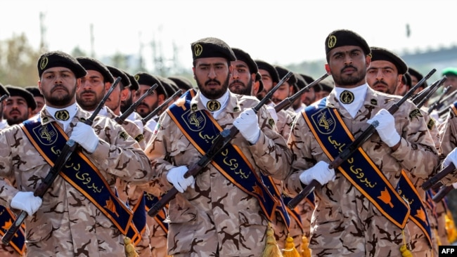 IRGC troops marching during the anniversary of the 1980-1988 war with Saddam Hussein's Iraq, in Tehran