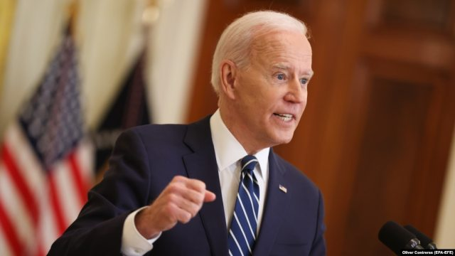 U.S. President Joe Biden says that he will not allow China to surpass the United States during his first formal news conference as president in the East Room of the White House in Washington on March 25.