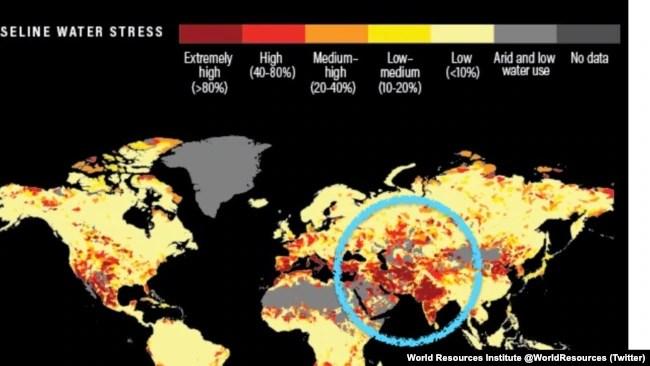 Institut za svjetske resurse kaže da se skoro četvrtina svijeta suočava s ekstremno velikim 'vodenim stresom'.