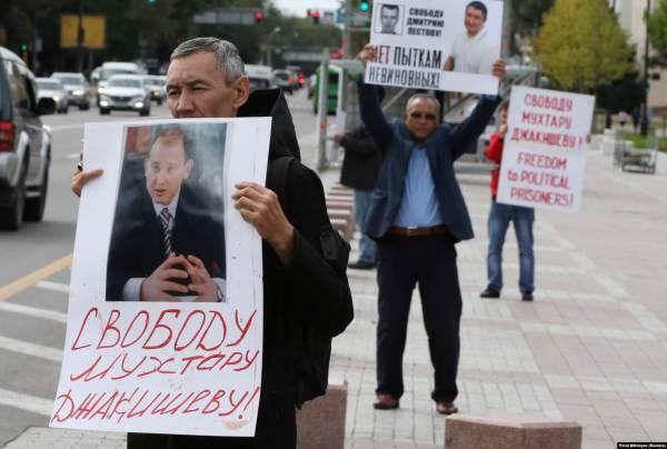Акция с требованием освободить Мухтара Джакишева из тюрьмы. Алматы, 10 сентября 2019 года.