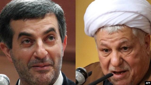 A combo photo shows Esfandiar Rahim Mashaie (left) and Akbar Hashemi Rafsanjani